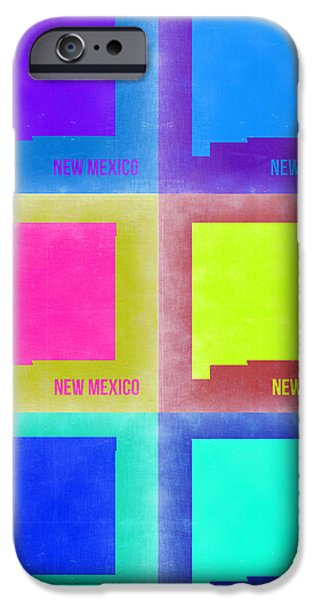 Home iPhone Cases - New Mexico Pop Art Map 2 iPhone Case by Naxart Studio
