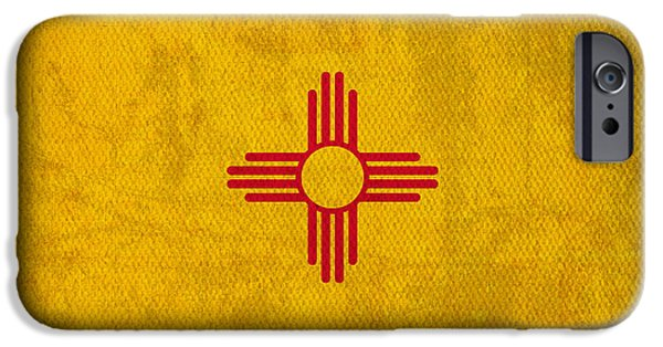 Flag iPhone Cases - New Mexico State Flag Art on Worn Canvas iPhone Case by Design Turnpike