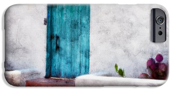 Las Cruces Digital Art iPhone Cases - New Mexico Turquoise Door and Cactus  iPhone Case by Barbara Chichester