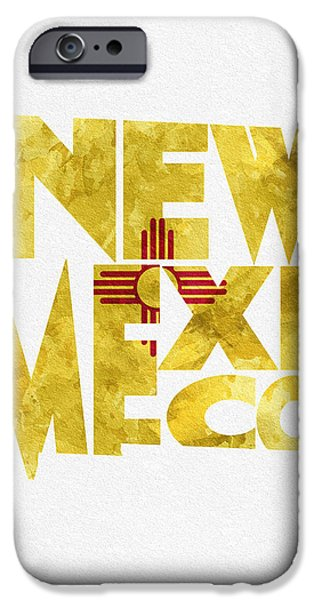 Posters Pyrography iPhone Cases - New Mexico Typographic Map Flag iPhone Case by Ayse Deniz