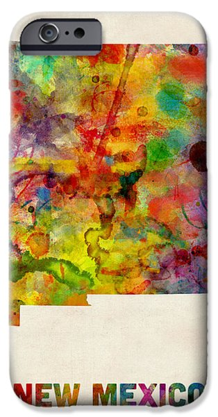 New Mexico Digital iPhone Cases - New Mexico Watercolor Map iPhone Case by Michael Tompsett