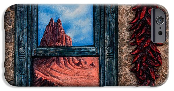 Folk Mixed Media iPhone Cases - New Mexico Window Gold iPhone Case by Ricardo Chavez-Mendez