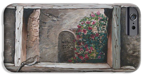 Headstones Paintings iPhone Cases - New Mexico Window iPhone Case by Pj Flagg Tongue in Chic