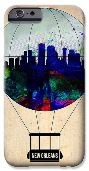 Town iPhone Cases - New Orleans Air Balloon iPhone Case by Naxart Studio