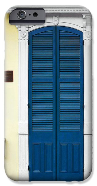 Big Easy iPhone Cases - New Orleans Blue Door iPhone Case by Christine Till