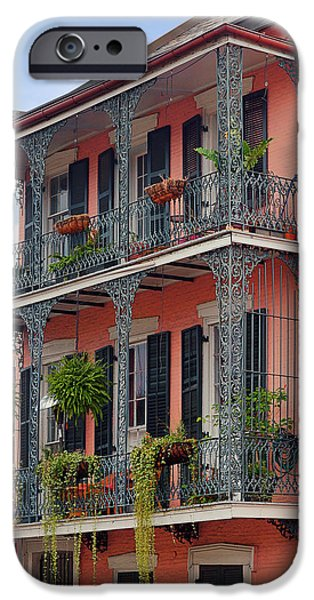 Balcony iPhone Cases - New Orleans colorful homes iPhone Case by Christine Till