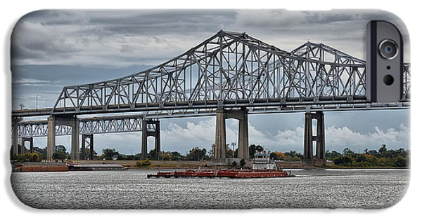 Mississippi iPhone Cases - New Orleans Crescent City Connection Bridge iPhone Case by Christine Till