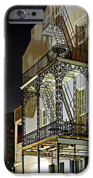 Balcony iPhone Cases - New Orleans Hot Summer Night iPhone Case by Christine Till