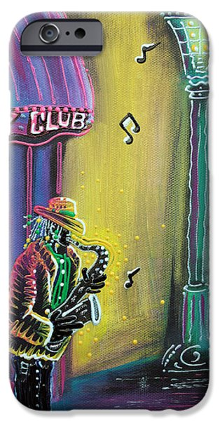 Mardi Gras Paintings iPhone Cases - New Orleans Jazz Fest iPhone Case by Laura Barbosa