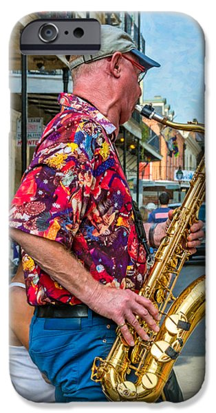 Shirt Digital iPhone Cases - New Orleans Jazz Sax 2 iPhone Case by Steve Harrington