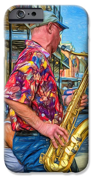 Shirt Digital iPhone Cases - New Orleans Jazz Sax - Paint iPhone Case by Steve Harrington