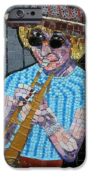 Music Glass Art iPhone Cases - New Orleans Lady iPhone Case by Gila Rayberg
