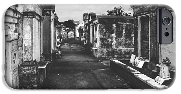 Headstones iPhone Cases - New Orleans Lafayette cemetery iPhone Case by Christine Till