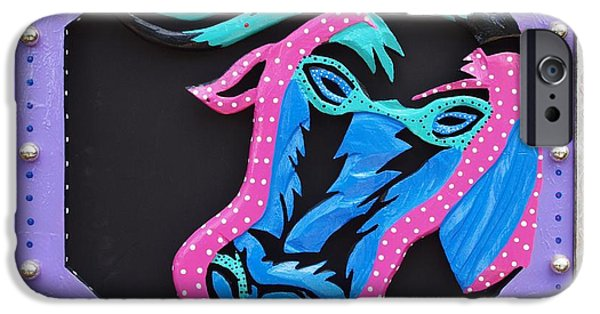 Red Abstract Sculptures iPhone Cases - New Orleans Mardi Gras Cow iPhone Case by Robert Margetts