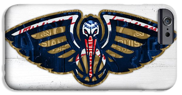 Basketball Team iPhone Cases - New Orleans Pelicans Basketball Team Retro Logo Vintage Recycled Louisiana License Plate Art iPhone Case by Design Turnpike