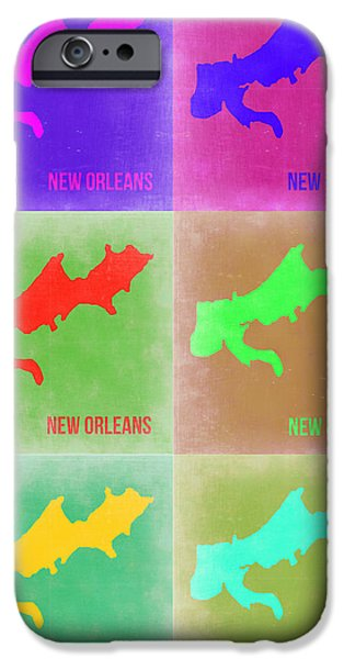 New Orleans Louisiana iPhone Cases - New Orleans Pop Art Map 3 iPhone Case by Naxart Studio