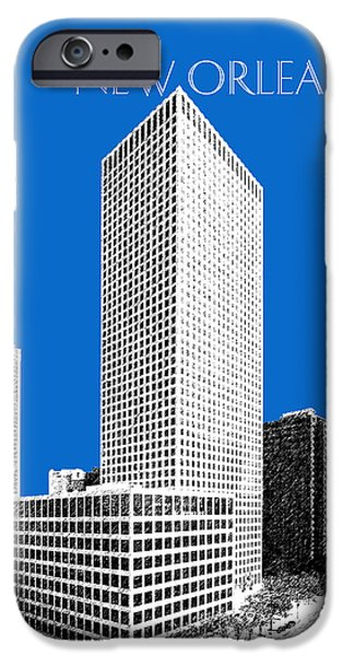 Pen And Ink iPhone Cases - New Orleans Skyline - Blue iPhone Case by DB Artist