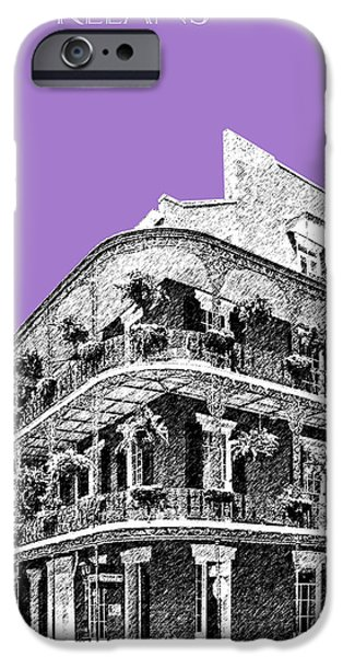 Pen And Ink iPhone Cases - New Orleans Skyline French Quarter - Violet  iPhone Case by DB Artist