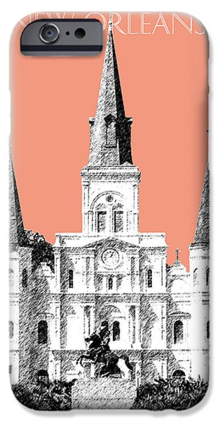 Pen And Ink iPhone Cases - New Orleans Skyline Jackson Square - Salmon iPhone Case by DB Artist