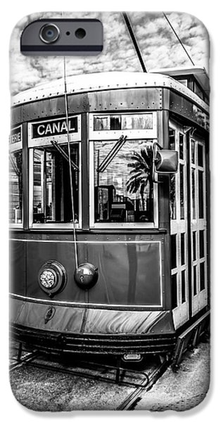 Old Photos iPhone Cases - New Orleans Streetcar Black and White Picture iPhone Case by Paul Velgos