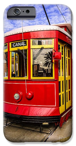Old Photos iPhone Cases - New Orleans Streetcar  iPhone Case by Paul Velgos
