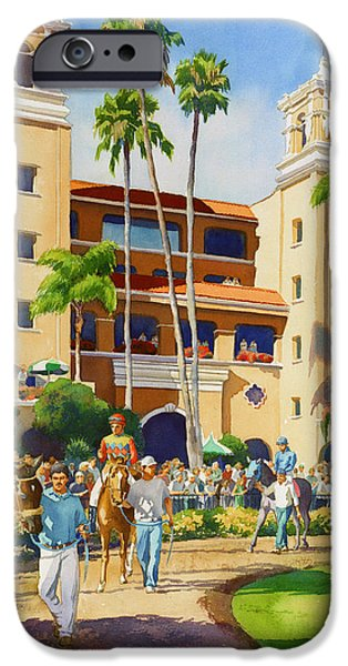 Racing Paintings iPhone Cases - New Paddock at Del Mar iPhone Case by Mary Helmreich