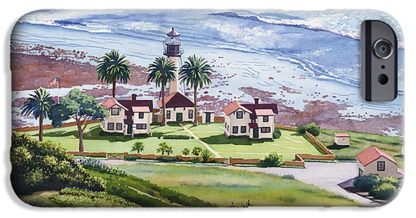 Lighthouse Paintings iPhone Cases - New Point Loma Lighthouse iPhone Case by Mary Helmreich