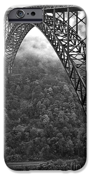 Allegheny iPhone Cases - New River Gorge Bridge Black and White iPhone Case by Thomas R Fletcher
