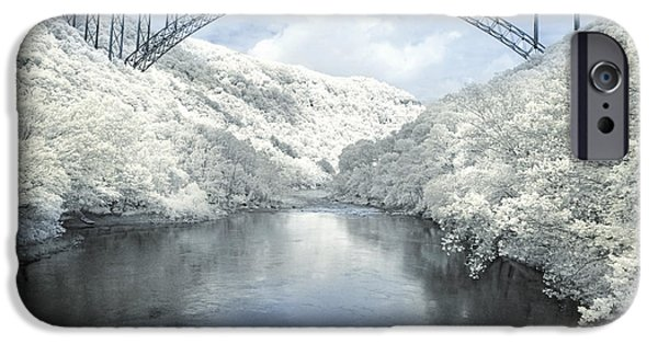 Snowy Day Digital Art iPhone Cases - New River Gorge Bridge in Infrared iPhone Case by Mary Almond