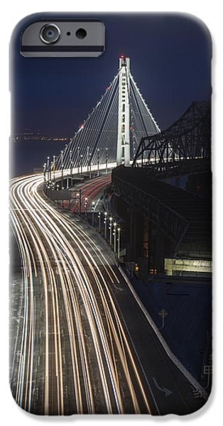 Bay Bridge iPhone Cases - New San Francisco Oakland Bay Bridge Vertical iPhone Case by Adam Romanowicz