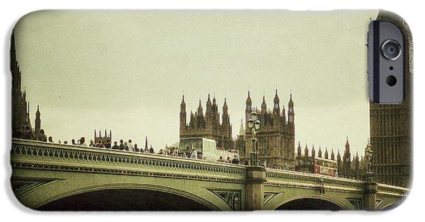 Famous Bridge iPhone Cases - New Westminster Bridge - London iPhone Case by Connie Handscomb