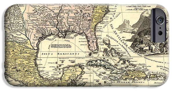 Antique Map Digital Art iPhone Cases - New World Map iPhone Case by Gary Grayson