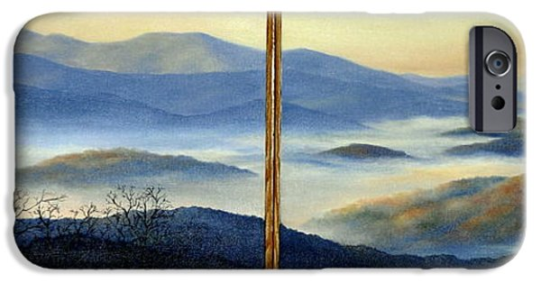 Smokey Mountains Paintings iPhone Cases - New World iPhone Case by Mary Taglieri