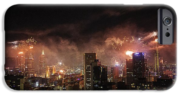 Fireworks Photographs iPhone Cases - New Year Fireworks iPhone Case by Ray Warren