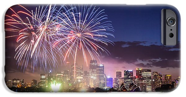 Fireworks iPhone Cases - New years eve fireworks in Sydney - Australia iPhone Case by Matteo Colombo