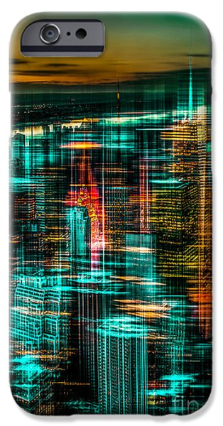 High Tower iPhone Cases - New York - the night awakes - green iPhone Case by Hannes Cmarits
