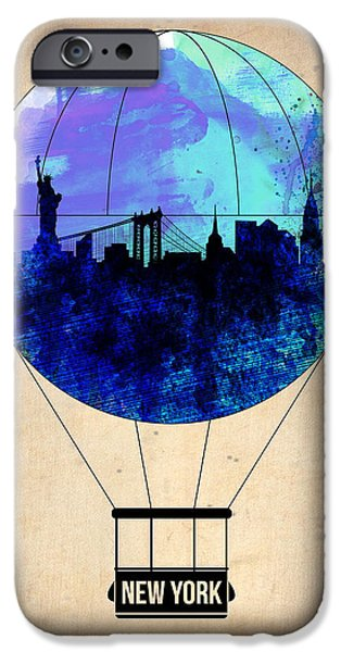 Town iPhone Cases - New York Air Balloon 2 iPhone Case by Naxart Studio