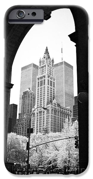 Twin Towers Nyc iPhone Cases - New York Arches 1990s iPhone Case by John Rizzuto