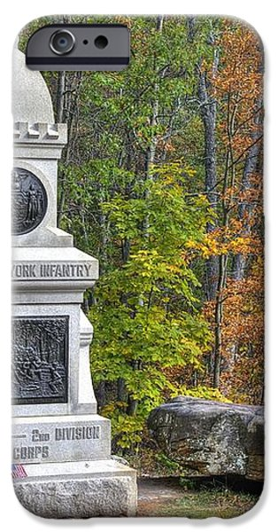 New York at Gettysburg - 149th NY Infantry Autumn Mid-Afternoon Culp's Hill iPhone Case by Michael Mazaika