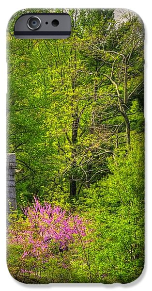 New York at Gettysburg - Monument to 12th / 44th NY Infantry Regiments-1A Little Round Top Spring iPhone Case by Michael Mazaika