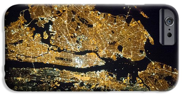 City. Boston iPhone Cases - New York At Night, Iss Image iPhone Case by Nasa