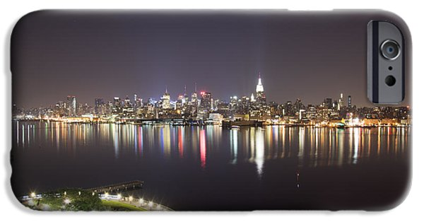 Hudson River iPhone Cases - New York at Night iPhone Case by Jeff Bruzee