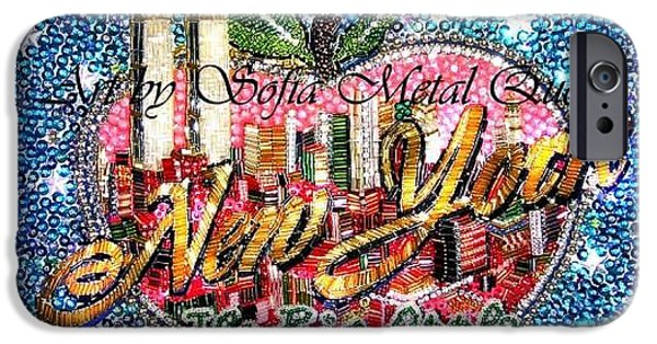 Beadwork Jewelry iPhone Cases - New York big apple beadwork embroidery iPhone Case by Sofia Metal Queen