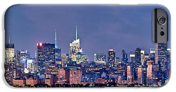 Empire State iPhone Cases - New York blue hour panorama iPhone Case by Delphimages Photo Creations