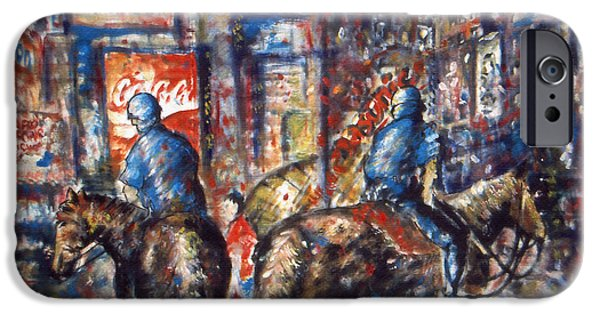 Police Art Drawings iPhone Cases - New York Broadway at Night - Oil Painting iPhone Case by Peter Fine Art Gallery  - Paintings Photos Digital Art