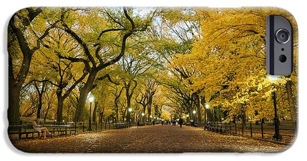 Autumn Landscape Photographs iPhone Cases - New York City - Autumn - Central Park - Literary Walk iPhone Case by Vivienne Gucwa