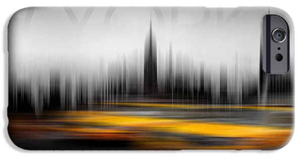 Sign iPhone Cases - New York City Cabs Abstract iPhone Case by Az Jackson