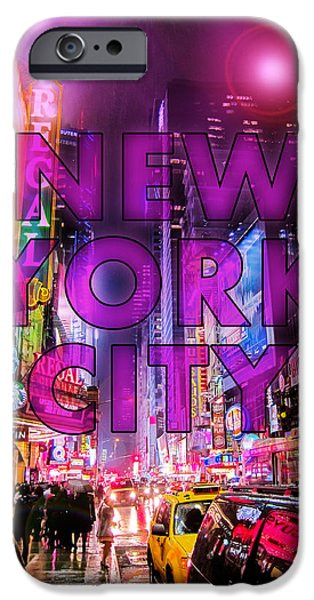 Nyc Digital Art iPhone Cases - New York City - Color iPhone Case by Nicklas Gustafsson