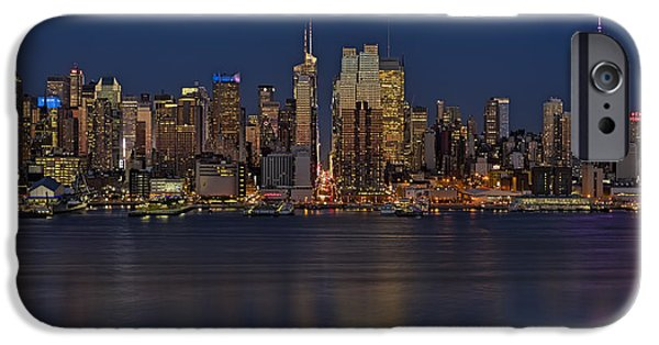 America iPhone Cases - New York City Comes Alives At Sundown iPhone Case by Susan Candelario