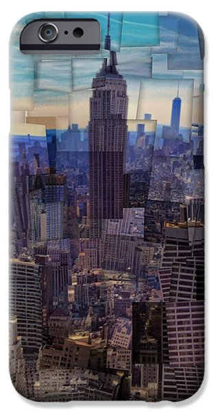 Buildings Mixed Media iPhone Cases - New York City Cubism iPhone Case by Dan Sproul